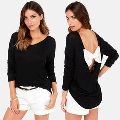 Loose V-neck Backless Bowknot Splicing Tops Blouse - Oh Yours Fashion - 1