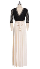 Lace Hollow Flower Slit Banquet 3/4 Sleeve Long Dress - O Yours Fashion - 3