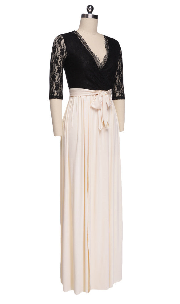 Lace Hollow Flower Slit Banquet 3/4 Sleeve Long Dress - O Yours Fashion - 4