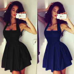 Sleeveless Halter A-line Short Littble Black Dress - O Yours Fashion - 1