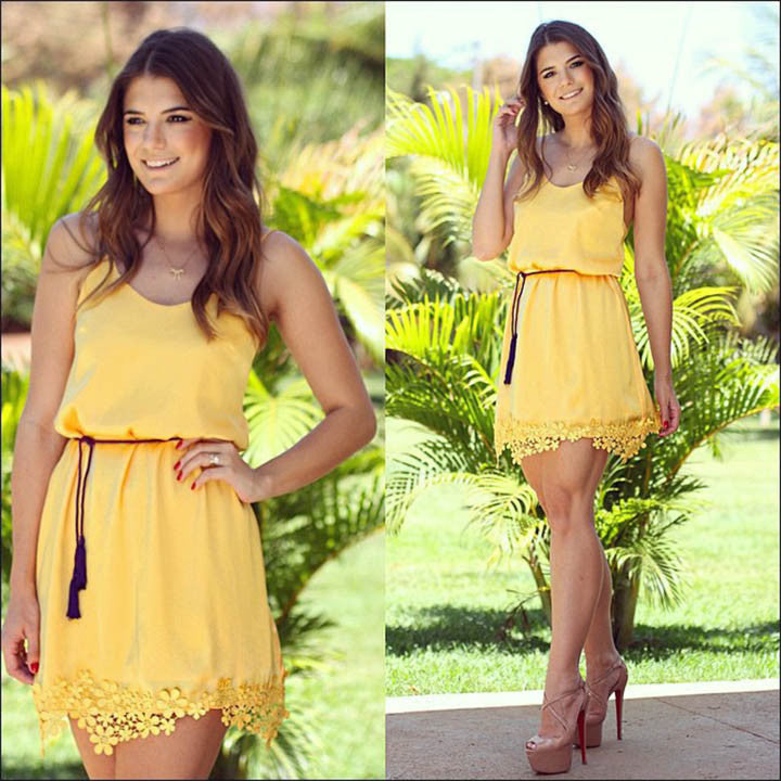 Yellow Chiffon Lace Tunic Party Mini Dress - O Yours Fashion - 1