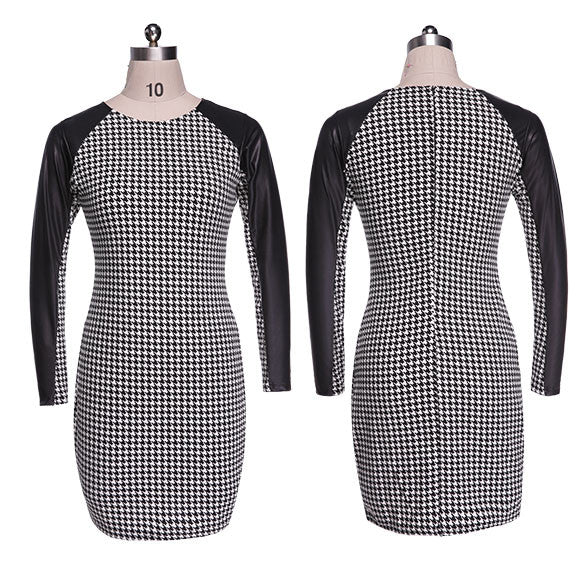 Long Sleeve Splicing Plaid Bodycon Short Pencil Dress - O Yours Fashion - 4