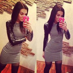 Long Sleeve Splicing Plaid Bodycon Short Pencil Dress - O Yours Fashion - 1