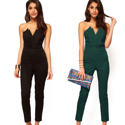 Off-shoulder V-neck Backless Slim Long Jumpsuit