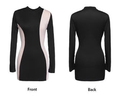Bodycon One-Step Slim Splicing Long Sleeve Pencil Dress - O Yours Fashion - 2
