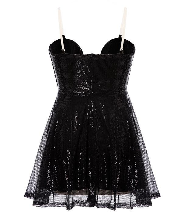 Strapless Backless Slim Fitting Padded Sequin Dress - MeetYoursFashion - 4