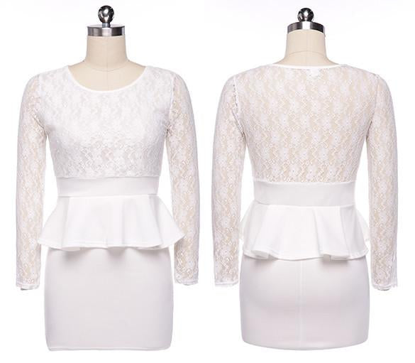 Long Sleeve Lace Splicing Bodycon Slim Fitting Short Dress - Meet Yours Fashion - 6
