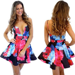 Floral Printing Straps Padded Short Dress - Meet Yours Fashion - 1