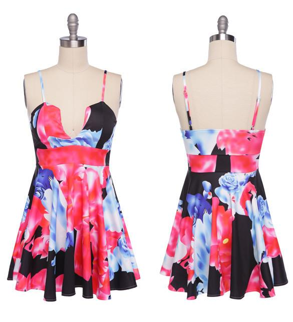 Floral Printing Straps Padded Short Dress - Meet Yours Fashion - 5