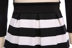 Bandage Cross Bodycon Long Sleeve Striped Fake Two Pieces Short Dress - O Yours Fashion - 5