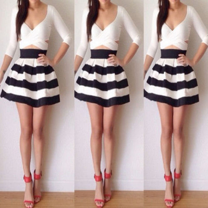 Bandage Cross Bodycon Long Sleeve Striped Fake Two Pieces Short Dress - O Yours Fashion - 1