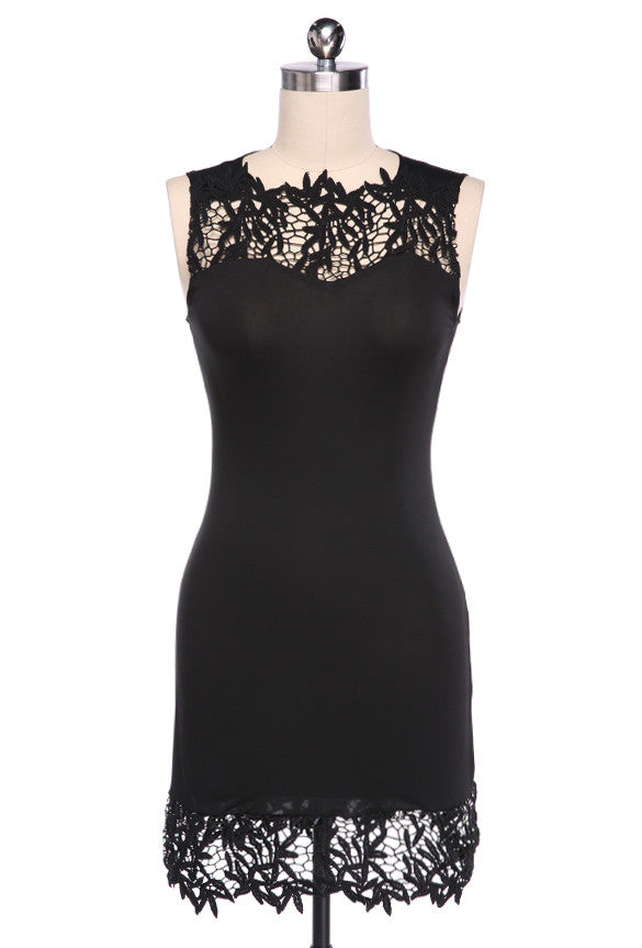 Sleeveless Bodycon Short Lace Little Black Dress - O Yours Fashion - 3