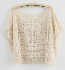 Hollow Out Crochet Knit Loose Tassels Top Blouse - O Yours Fashion - 5