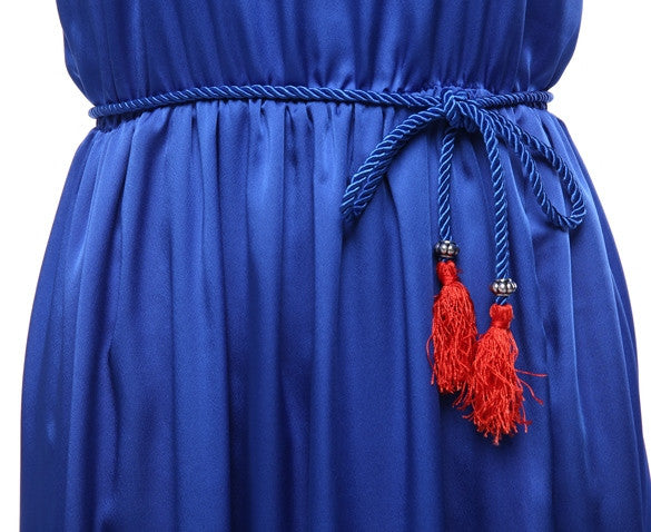 Spaghetti Strap Blue Loose Long Full Dress - O Yours Fashion - 6