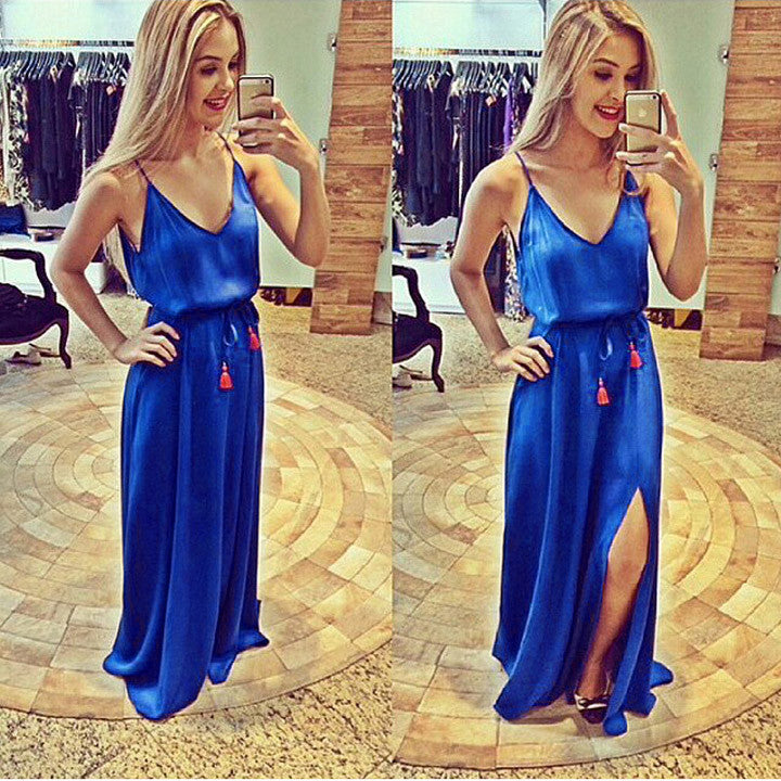 Spaghetti Strap Blue Loose Long Full Dress - O Yours Fashion - 1
