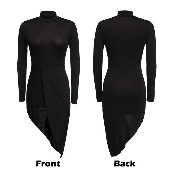 Asymmetric Hem Slim Fitting Bodycon Pencil Dress - Oh Yours Fashion - 2