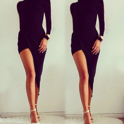 Asymmetric Hem Slim Fitting Bodycon Pencil Dress - Oh Yours Fashion - 1