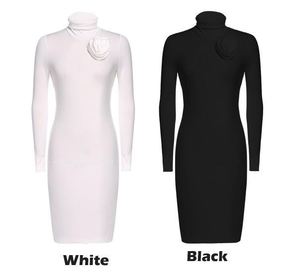 Long Sleeve Turtle Neck Slim Fitting Bodycon Pencil Dress - MeetYoursFashion - 4