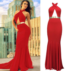Backless Halter Fishtail Long Evening Dress - O Yours Fashion - 1