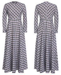 A-line Plaid Long Sleeves Long Party Dress - Oh Yours Fashion - 4