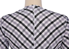 A-line Plaid Long Sleeves Long Party Dress - Oh Yours Fashion - 8