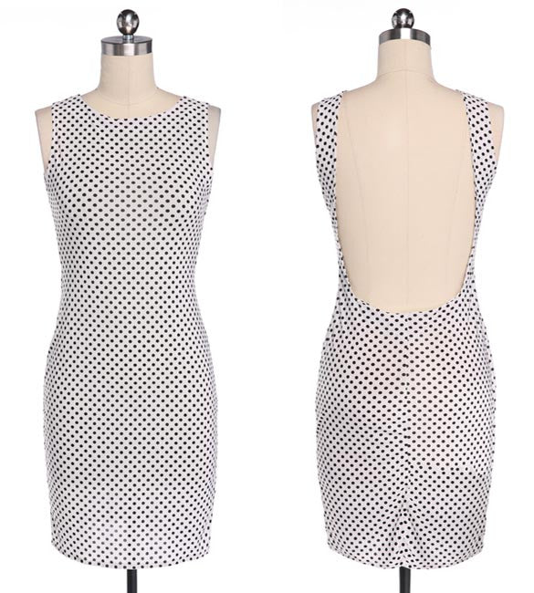 Backless Dots Knee-length Bodycon Dress - O Yours Fashion - 4