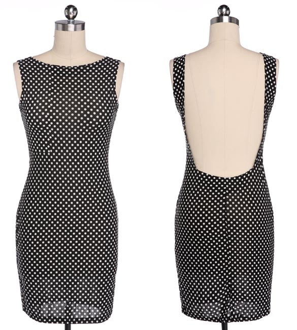 Backless Dots Knee-length Bodycon Dress - O Yours Fashion - 6