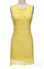 Backless Pure Yellow O-neck Lace Sleeveless Dress - O Yours Fashion - 2