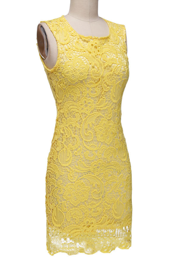 Backless Pure Yellow O-neck Lace Sleeveless Dress - O Yours Fashion - 3