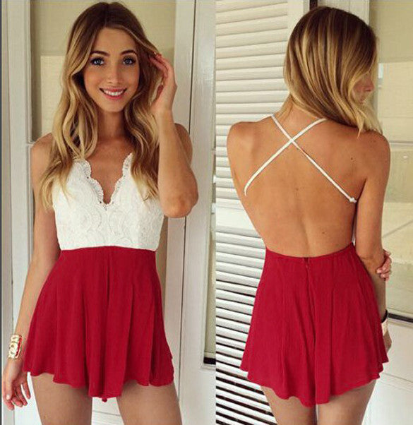 Backless Deep V-neck Halter Sleeveless Sexy Jumpsuit - O Yours Fashion - 3