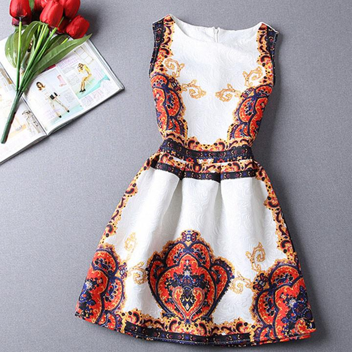 Elegant Vintage Flower Print Sleeveless Mini Tank Dress - MeetYoursFashion - 2