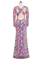 Long Sleeve Backless Bodycon Flower Full Dress Gown - O Yours Fashion - 4