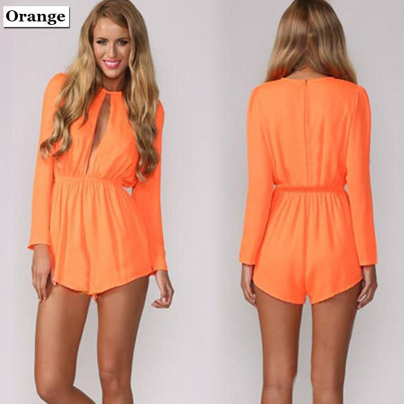 Solid Chiffon O-neck Long Sleeve Short Jumpsuit - O Yours Fashion - 1