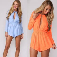 Solid Chiffon O-neck Long Sleeve Short Jumpsuit - O Yours Fashion - 4