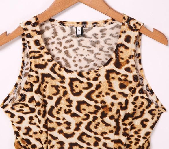 Sleeveless O-neck Waist Slitting Leopard Cut Out Mini Dress - MeetYoursFashion - 5
