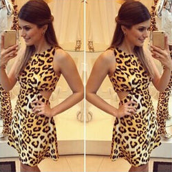 Sleeveless O-neck Waist Slitting Leopard Cut Out Mini Dress - MeetYoursFashion - 1