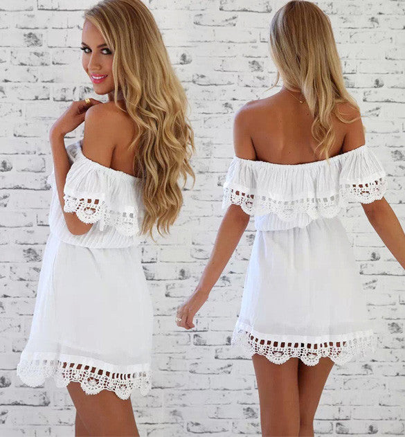 Off- Shoulder Lace Short Dress - O Yours Fashion - 2