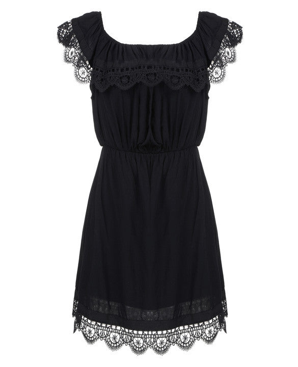 Off- Shoulder Lace Short Dress - O Yours Fashion - 5