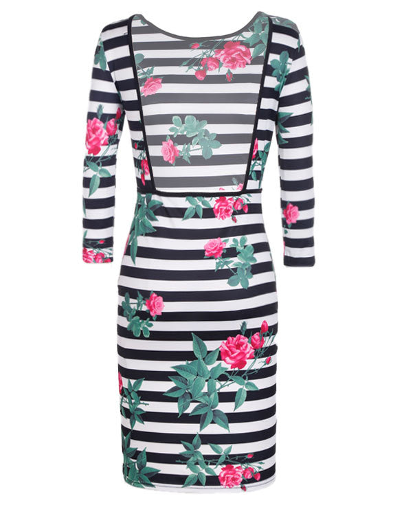 3/4 Sleeve Bodycon Knee-Length Printed Stripe Backless Dress - O Yours Fashion - 4