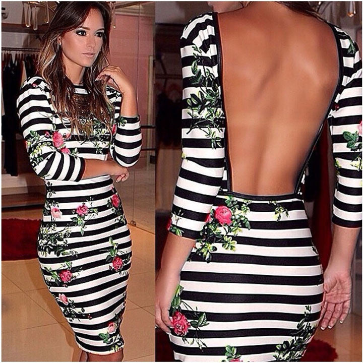 3/4 Sleeve Bodycon Knee-Length Printed Stripe Backless Dress - O Yours Fashion - 1
