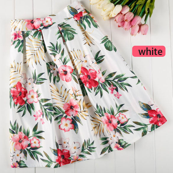 Big Flower Print High Waist Pleated Clubwear Skirt - O Yours Fashion - 2