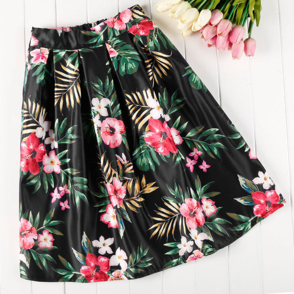 Big Flower Print High Waist Pleated Clubwear Skirt - O Yours Fashion - 1