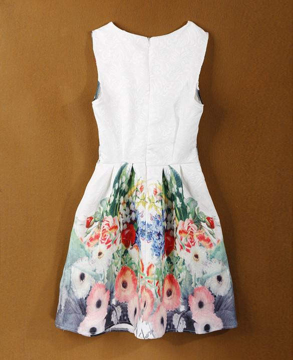 Sleeveless Print Slim Party Mini A-line Sundress Dress - Meet Yours Fashion - 3