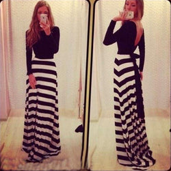 Long Sleeves Backless Stripe Long Loose Dress - Meet Yours Fashion - 1