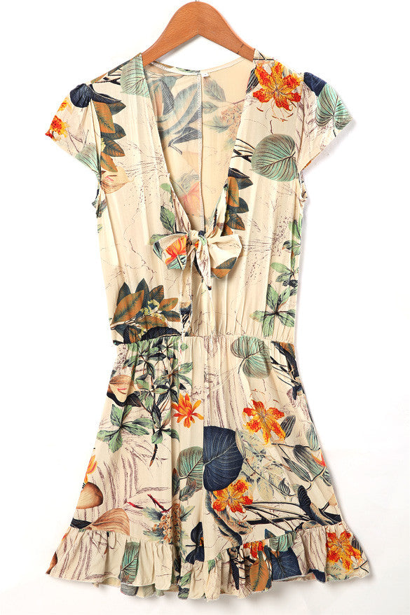 V-neck Flouncing Romper Straps Print Overall Jumpsuit - O Yours Fashion - 4