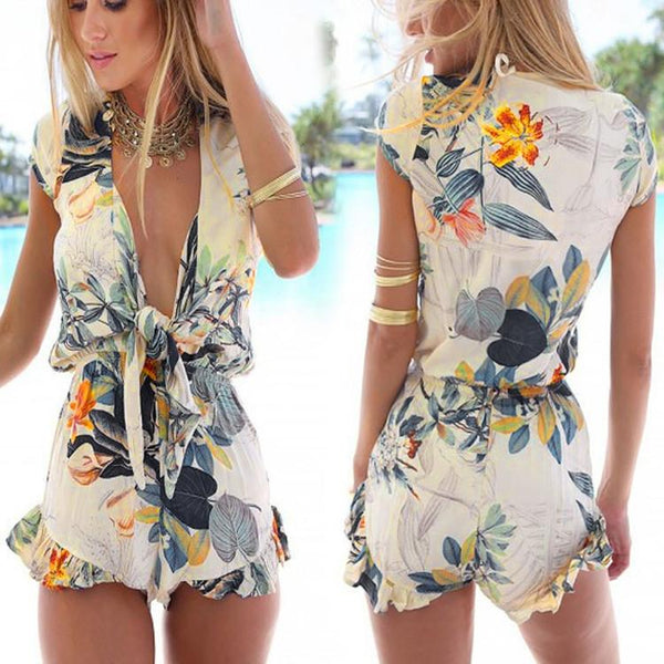 V-neck Flouncing Romper Straps Print Overall Jumpsuit - MeetYoursFashion - 1