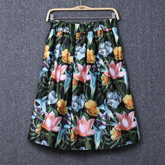 High Waist Print A-Line Pleated Midi Swing Skirt - O Yours Fashion - 3
