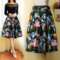 High Waist Print A-Line Pleated Midi Swing Skirt - O Yours Fashion - 1