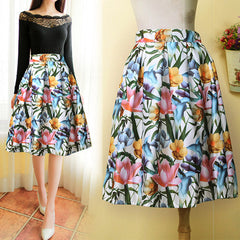 High Waist Print A-Line Pleated Midi Swing Skirt - O Yours Fashion - 2