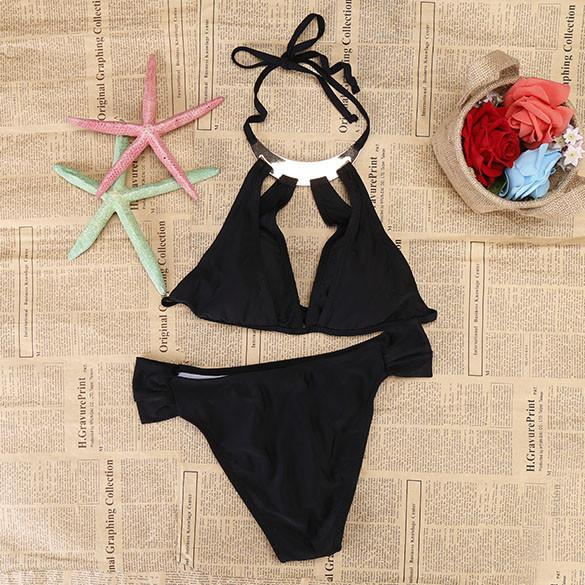 Cut Out Halter Strap Push Up Swimsuit Bikini Set Swimwear - MeetYoursFashion - 3